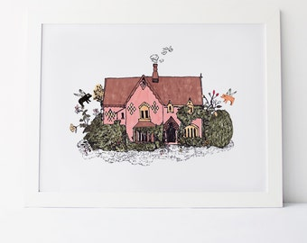 Cottage Print - Woodlands Cottage with Flying Pigs
