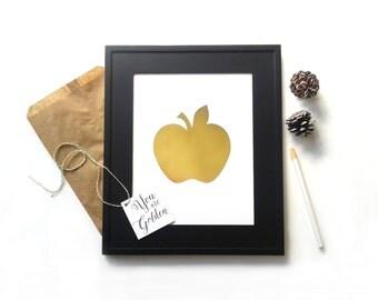 Teacher Gift Idea Appreciation Apple Art, Elementary Teacher Gold Foil Wall Print, Golden Holiday Thank You Gift from Classroom For Teacher