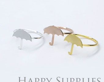 2Pcs Nickel Free - High Quality Rose Gold/Silver/Golden Brass Umbrella Ring (RB014)