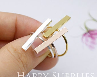 5Pcs 16.5mm Nickel Free - High Quality Rose Gold/Silver/Golden Brass Ring with Bar Pad (ZJ151)