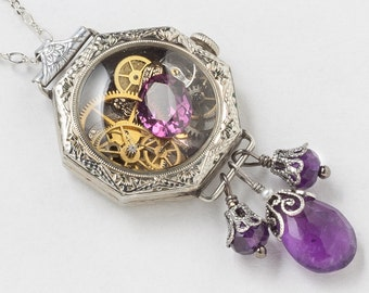 Antique Edwardian Watch Case Necklace in 14K White Gold Filled with Gears, Dragonfly Charm, Genuine Amethyst, Pearl and Purple Crystal 3012
