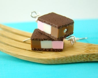 Food Jewelry Ice Cream Earrings // MADE TO ORDER // Neapolitan Ice Cream Sandwiches // Miniature Food Earrings
