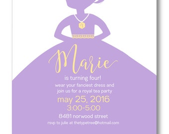 Princess Birthday Invitation - DIY Printable Invitation PDF or JPEG