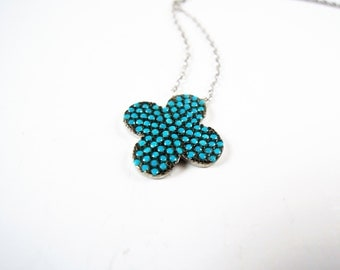 turquoise necklace, my wife is pregnant, flower necklace, floral necklace, silver necklace, tiny necklace, dainty necklace, delicate choker