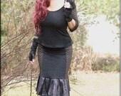 SALE - Steampunk Top - Black Shirt - Burning Man - Bohemian - Gothic Gypsy Fashion - Victorian - Sexy - Boho - Playa Wear - Size X- Small