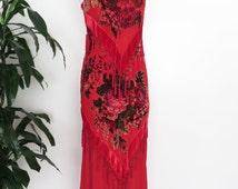 SALE // Velvet Tassel Maxi Dress Sheer Velvet Burnout Floral Roses Scoop Neck Sleeveless Red 90s