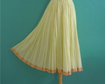 vintage yellow india cotton summer skirt