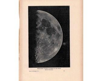 1900 MOON PHASE print original antique celestial astronomy lithograph