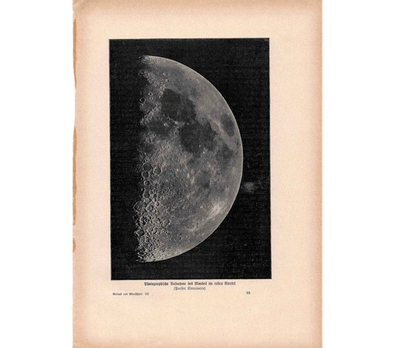 1900 MOON PHASE print original antique celestial astronomy lithograph