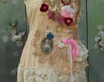 Baroque top - -bohemian shabby chic top, embroidered and beaded details,old laces