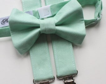 Little and Big Guy Bow tie and Suspender SET - Solid Mint Green -(Newborn-Adult)