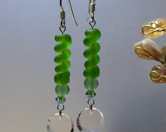 Unique Peridot Green Artisan Lampwork Glass Bead Dangle Earrings with Vintage Swarovski Crystal Beads