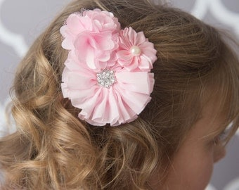 Light Pink Clip, baby pink flower clip, toddler hair clip, baby shower gift, pink wedding flower hair clip, girl birthday gift for her