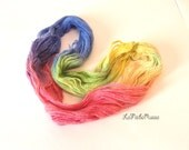 alpaca rowing rainbow yarn hand-dyed, 92 gr, purple pink yellow green blue