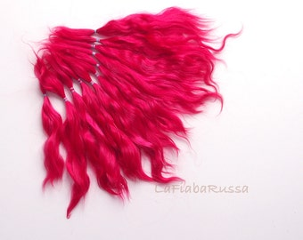 magenta hot pink shades Doll Hair extra long 7-10 in Combed Mohair locks reroot Blythe, reborn, waldorf, pullip, neemo, bjd, doll wig