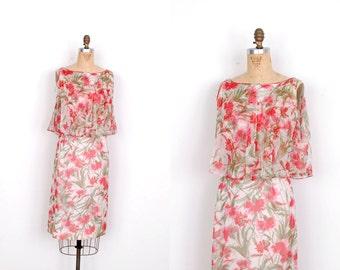 Vintage 1960s Dress / 60s Floral Print Silk Chiffon Wiggle Dress / Pink and White (medium M)
