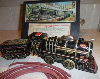 Vintage Mid Century Battery Operated Tin Toy CABLE Train Set WORKS w/ Box JAPAN