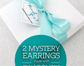 SALE - 2 Mystery Pairs of Crystal Earrings Gift Set, Earring Grab Bag, Mystery Gift, Surprise earring, Secret Dangle Crystal Earrings