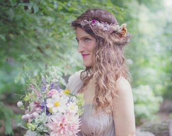 Dried Flowers Goddess Headband, Boho Chic, Bridal Hair Accessories, Wedding Crown, Floral Tiara, Back Headband Whimsical Rustic Real flowers
