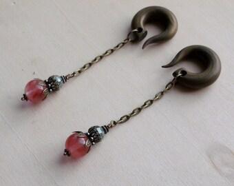 Bronze Cherry Quartz Stone Drop Gauged Earrings Plugs with Green Iris Crystals