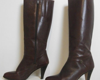 Burgundy Leather 80s Etienne Aigner Boots, Size 8.5