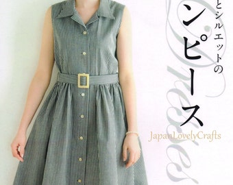 Simple & Natural Style One Piece Dress Patterns, Japanese Sewing Book, Women Comfortable Japnese Style Clothing, Easy Sewing Tutorial, B1784