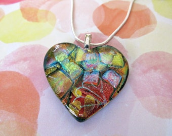 Fused Dichroic Glass Pendant - Gorgeous Red, Copper and Gold Heart Necklace - Gift for Her - 103-16