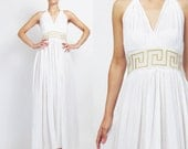 Grecian Goddess Dress Greek Key Gold Embroidered Dress Vintage White Gauze Cotton Dress Halter Maxi Dress Summer Backless Sun Dress (M)