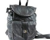 Vintage 90s Black Leather Backpack 1990s Mini Backpack Patchwork Leather Backpack Festival Grunge Rucksack Drawstring Bucket Shoulder Bag