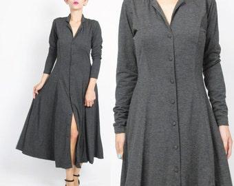 90s Long Sleeve Dress Heather Gray Dress Soft Jersey Knit Dress Button Up Front Dress Collared Fall Winter Dress Flared Full Skirt (S) E305