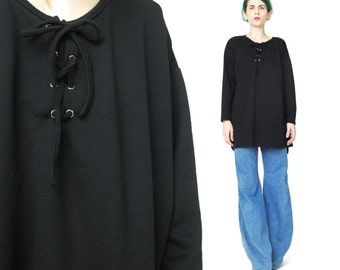 Vintage 90s Black Long Sleeve Tshirt Lace Up Jersey Top African Corset Ties Neckline Oversize Black Tunic Top Slouchy Pullover Tee (M)
