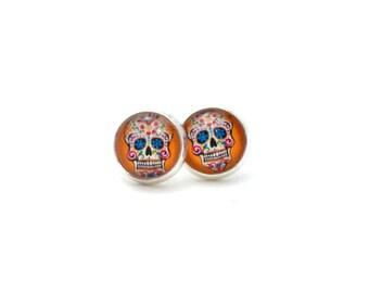 Sugar Skull Earrings, Sugar Skull Jewelry, Orange Earrings, Earring for Teens, Tween Earrings, Teen Jewelry, Day of the Dead Jewelry