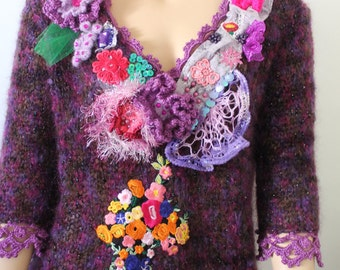 Art to wear Shabby chic Romantic Purple Hand knit Crochet Embroidered Beaded Sweater Top Fairy Gypsy Tattered Textile Collage  Size L/XL/XXL