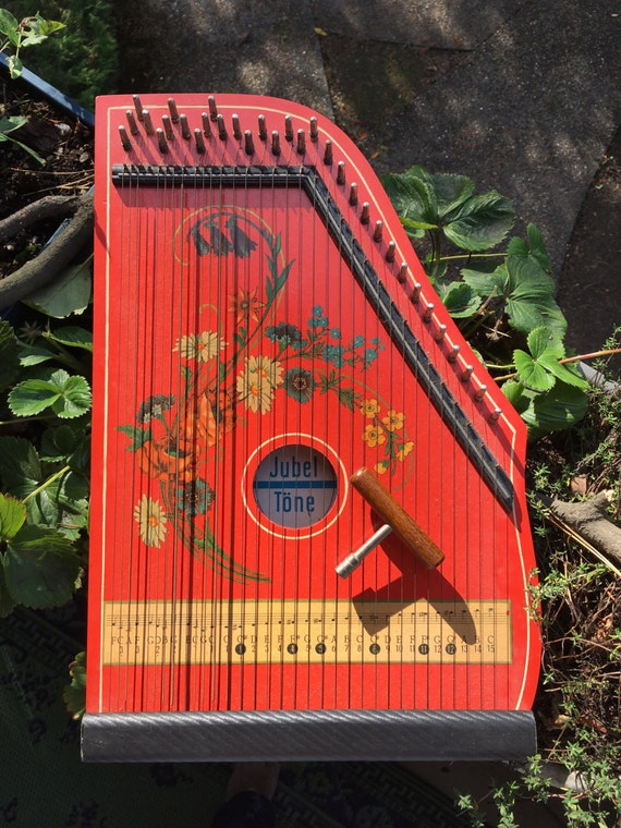 antique 1950s red german zither made in west germany
