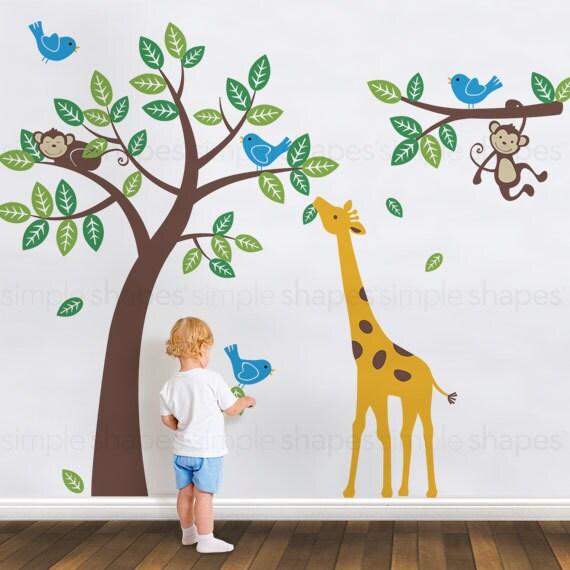 Tree with Monkeys Giraffe and Birds Wall Decals - Baby Nursery Wall Decals