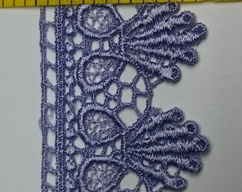 Flat Venice Lace 1 1/2 inch Wide Lavender Light Purple Scalloped on One Side 5 Yards NEW