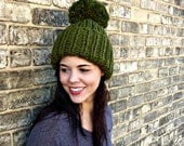 Hand Knit Hat Womens Chunky Cuffed Ribbed Pom Pom Beanie Hat - Cilantro - MADE TO ORDER
