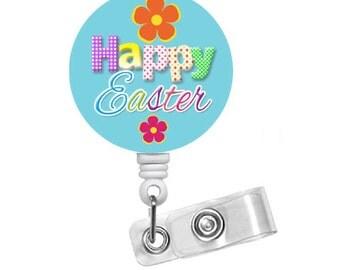 "Happy Easter Daisy Badge 1.5"" - Badge Holders - Holiday Badge Reel - Pediatric Badge Holder - Nurse Badge - Teacher Badge - Easter Badge"