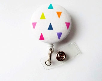 Colorful Geometric Triangle - Retractable ID Badge Holder - Cute Badge Reel - Designer Badge Holder - Nursing Badge Clip - Teacher Badge