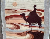 MISFIT NEEDLEWORK Orphan Vintage Needlepoint Completed Canvas Possibly Sunset Designs Bedouin Desert Camel Ready to Repurpose 1980s