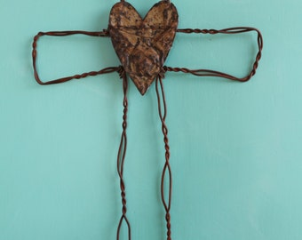 rusted wire cross with vintage tin ceiling tile heart Christian wall decor