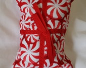 Catnip Pillow Present - red and white peppermints with red ribbon