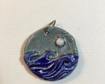 Moonlit ocean waves sculptural ceramic pendant by JDaviesReazor