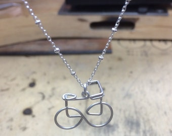 Bicycle Necklace in Sterling Silver Hand Formed