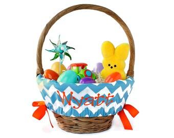 Personalized Easter basket liner, Custom basket liner, Girls Easter basket liner, Boys Easter Basket liner, Egg Basket - Blue Chevron