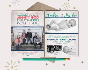 Birth Announcement Christmas Photo Cards · BABY ANNOUNCEMENT · grey, navy, coral · Isaiah 9:6 Christian Christmas Card