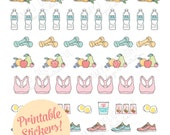 Printable HEALTH & FITNESS stickers!-Digital File Instant Download-running shoes, weights, exercise, healthy foods, happy planner