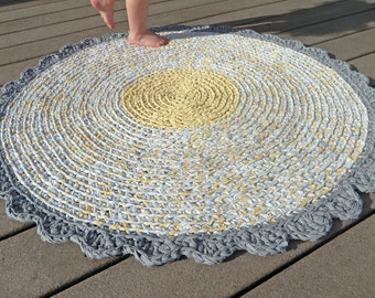 crochet rug - yellow gray round crocheted recycled rag rug