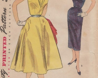 Simplicity 1132 / Vintage 50s Sewing Pattern / Dress / Size 15 Bust 36