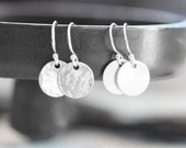 Sterling Silver Disc Earrings, Hammered Silver Earrings, Simple Silver Earrings, Smooth or Hammered Finish